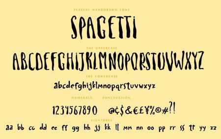 Handwritten playful script font Spagetti vector alphabet set
