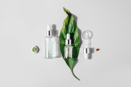 Natural Serums. Concept of cosmetic injection is hyaluronic acid, botulin, serum. Reklamní fotografie - 124787105