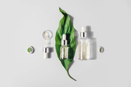 Natural Serums. Concept of cosmetic injection is hyaluronic acid, botulin, serum.