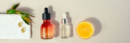 Natural cosmetic with vitamin C Skin beauty health care concept. Flat lay Banner Reklamní fotografie