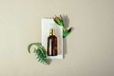 Skin beauty health care concept. Bio organic serum product Flat lay