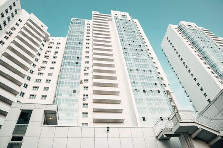 White new modern skyscrapers. Luxury residential complex. Texture, background