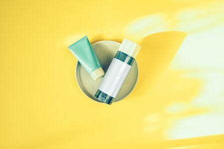 Skin beauty health care concept. Moisturizers for skin. Micellar water and mask. Beauty products. Reklamní fotografie