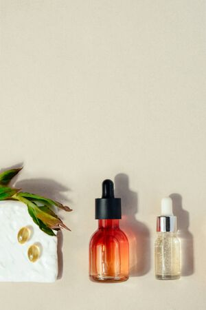 Skin beauty health care concept. Bio organic serum product