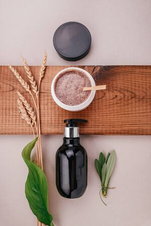 Flat lay composition of spa treatments and body care. Healthy body care