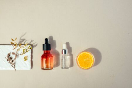 Natural cosmetic with vitamin C. Skin beauty health care concept. Flat lay
