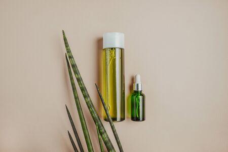 Natural cosmetics, serum for hair, skin care Concept of organic, natural cosmetics. Flat lay, pastel Reklamní fotografie