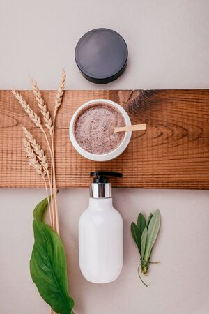 Close-up products of hair and scalp care products. Flat lay, minimalism Concept of natural hair care