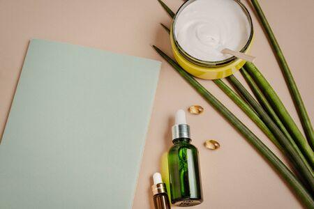 Natural cosmetics. Serum hair mask. Healthy hair concept. Flat lay, copy space Reklamní fotografie