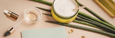 Natural cosmetics. Serum, shampoo, hair mask. Organic care concept. Flat lay, copy space Reklamní fotografie