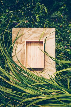 Creative background from plants, frame from kraft paper and box of wood. Vegan Product Concept Reklamní fotografie