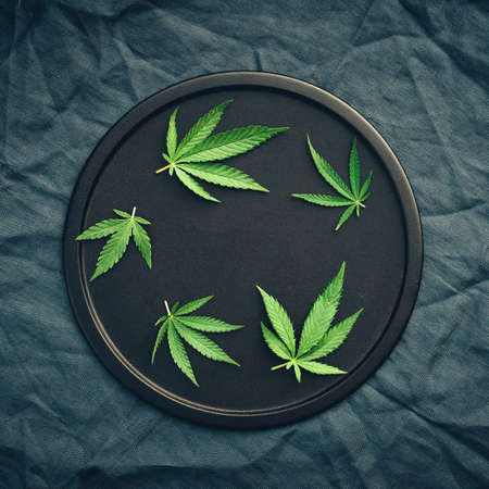 Cannabis leaves, mariuana of different sizes on a black round dish on a dark background. Copy space, banner, flat lay