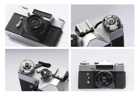 Schwarz und Weiß . Collage eines Fotos einer alten Vintage-Kamera Standard-Bild - 92151929