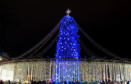 Beautiful decorated Christmas tree on Saint Sophia square in Kyiv, Ukraine, 2018.