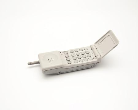 handset: retro cordless white phone handset on white  Stock Photo