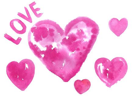 pink hearts: Watercolor pink hearts.