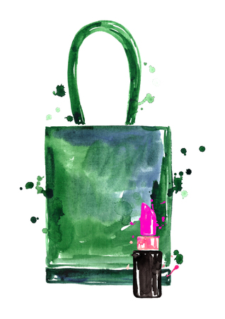 designer bag: Watercolor green bag with lipstick. Stock Photo