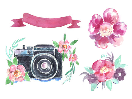 Watercolor spring set with camera and pink ribbon banner. Stock Photo