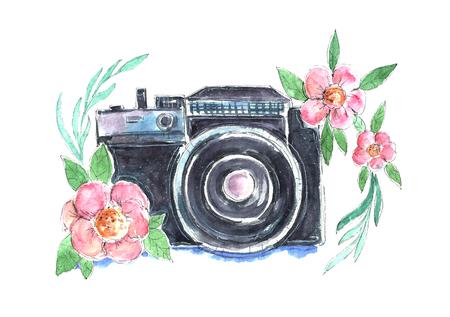 Akwarela aparat fotograficzny z kwiatami. Zdjęcie Seryjne