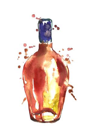 Watercolor alcohol bottle. Stock Photo