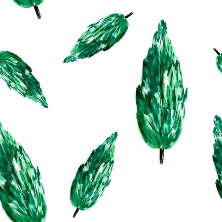 Watercolor green tree pattern.