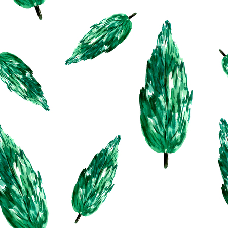 christmas plant: Watercolor green tree pattern.