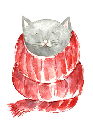 Watercolor cute cat with scarf.
