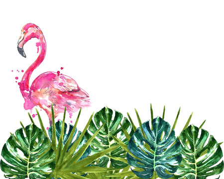 Watercolor tropical background with pink flamingo.