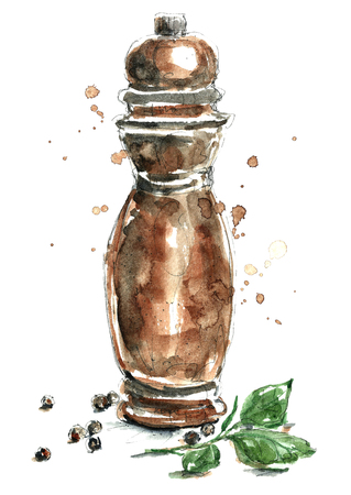 pepper mill: Watercolor peppermint.