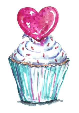 cupcake illustration: Watercolor cupcake with pink heart.