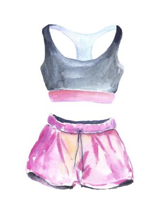 Watercolor pink sport wear. Stock fotó