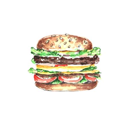 Watercolor burger.