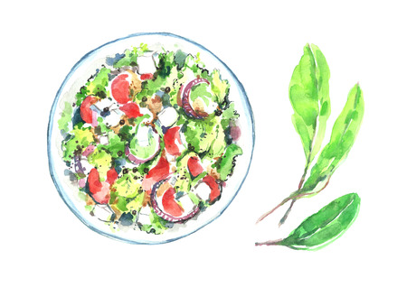 Watercolor salad plate.