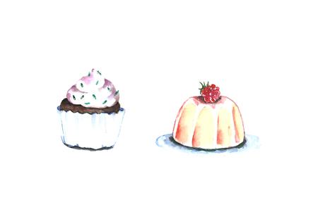 Watercolor cupcakes desserts. Фото со стока