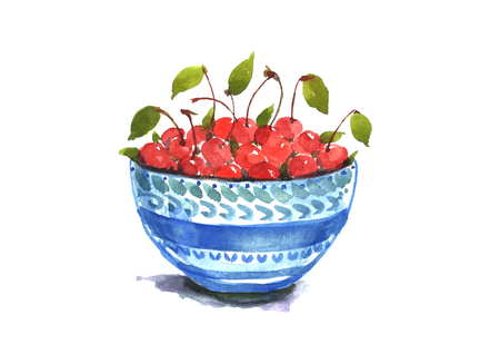 Watercolor cherry inside bowl