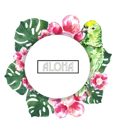 Watercolor tropical logo.