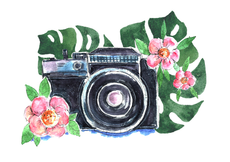 Conception d'appareil photo aquarelle avec des fleurs Banque d'images
