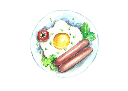 Watercolor egg sausage for breakfast.
