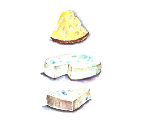 Watercolor cheese for breakfast. Фото со стока