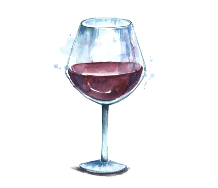 Watercolor red wine glass.
