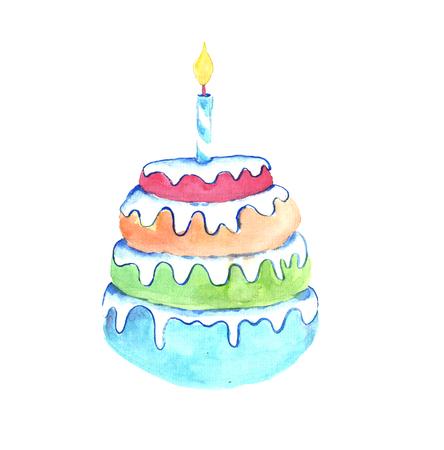 Watercolor birthday cake. Фото со стока
