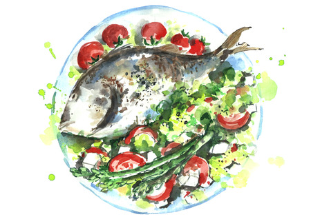 Watercolor fish. Stock Photo