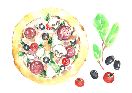 Watercolor pizza isolated in white background. Фото со стока