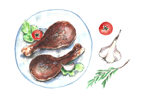 Watercolor chicken. Фото со стока