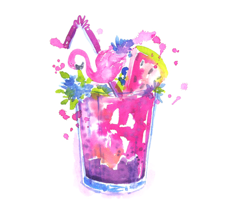 Watercolor summer cocktail.