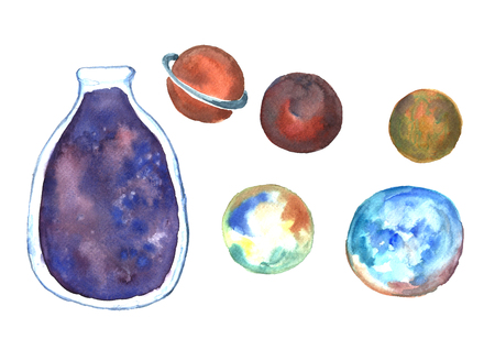 Watercolor planets.