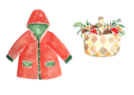Watercolor red raincoat with autumn harvest basket.
