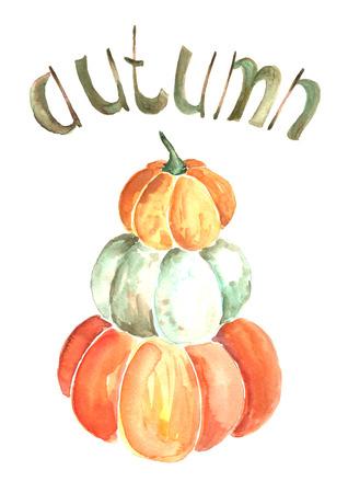 Watercolor pumpkins.