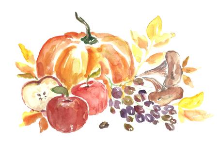 Cosecha del otoño de la acuarela. Foto de archivo - 85125501
