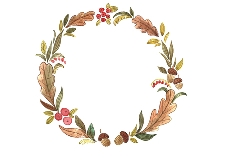 Watercolor autumn wreath.